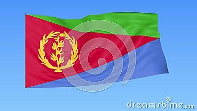 Golvende vlag van Eritrea, naadloze lijn Nauwkeurige grootte, blauwe achtergrond Een geplaatste deel van alle landen 4K ProRes me stock illustratie