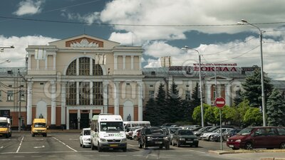 Gomel, Belarus. Railway Station Building In Sunny Summer Day. Set.  stock video footage