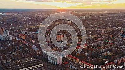 Gomel, Bielorrússia Homel Cityscape Vista Aérea Da Linha Do Céu Na Noite Do Sol Do Outono Vista de Pássaro das Ruas da Cidade video estoque