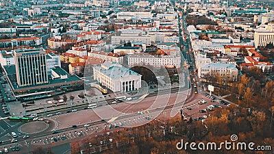 Gomel, Bielorrússia Homel Cityscape Vista aérea da linha do horizonte de outono Vista de pássaro das ruas da cidade video estoque