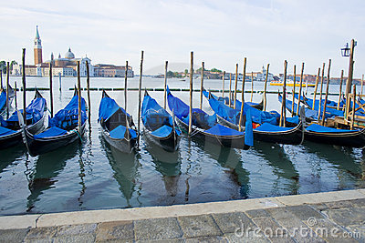 Gondola Boats on grand canal venice italy