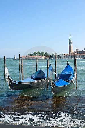 Gondola boats in Venice harbor