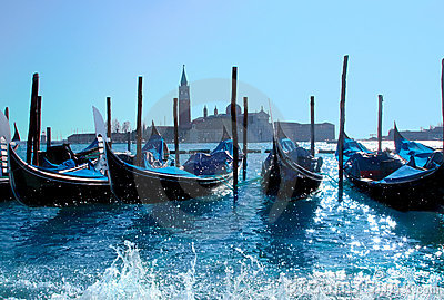 Gondola boats in Venice harbor
