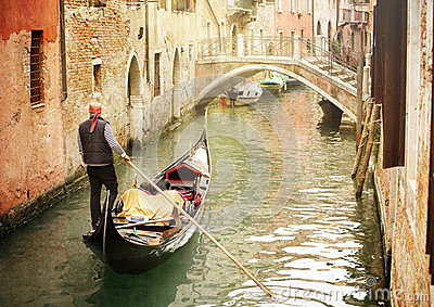 Gondola on canal in Venice Editorial Photography