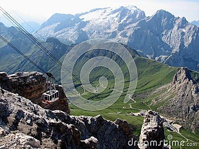 Gondola going up the mountain