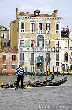 Gondola and gondolier in Venice Editorial Image