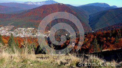 Gondola lift ascending from Azuga resort, Romanian Carpathians stock footage
