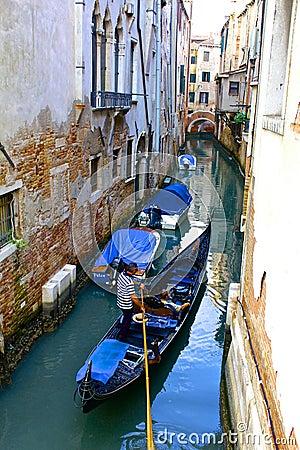 Gondola On a Narrow Venetian Canal Editorial Image