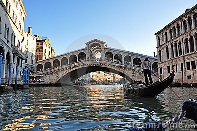 Gondola near Rialto Bridge, Venice Editorial Stock Image
