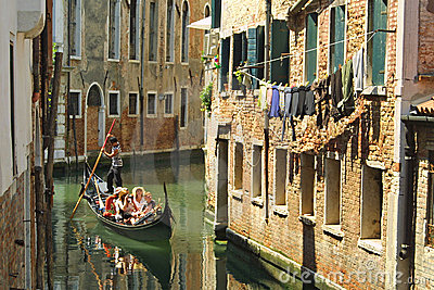 Gondola with passengers in Venice Editorial Photography