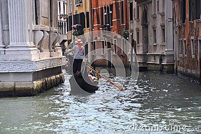 Gondola ride in Venice , Italy