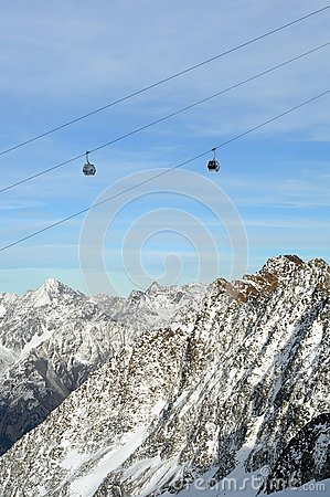 Gondola Ski Lift above Alps Mountains