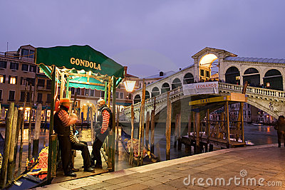 Gondola stop by Rialto bridge Editorial Photography