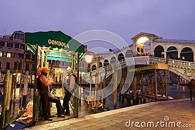 Gondola stop by Rialto bridge Editorial Photography