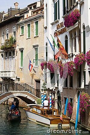 Gondola in Venetian canal Editorial Stock Photo