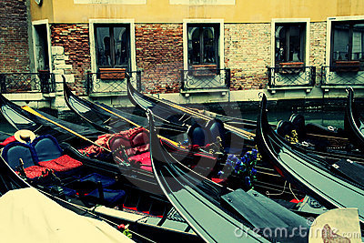 Gondolas on the canal in Venezia