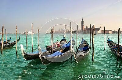 Gondolas on Grand Canal and San Giorgio Maggiore.