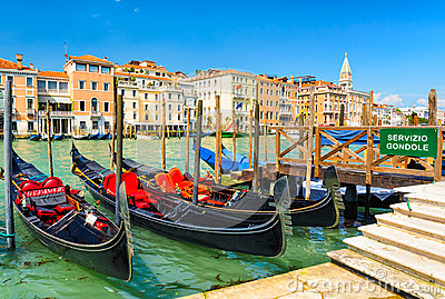 Gondolas on the Grand Canal in Venice, Italy