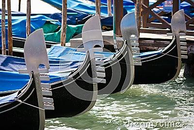 Gondolas moored by Saint Mark s square in Venice
