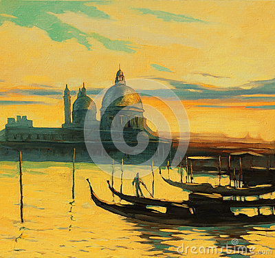 Free Gondolas On Landing Stage In Venice, Painting By Oil Paints , Il Stock Images - 38332864