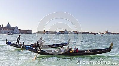 Gondolas racing in Venice. Editorial Photography