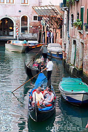 Gondolas in Venice Editorial Stock Image