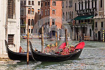 Gondolas on Venice Grand Canal