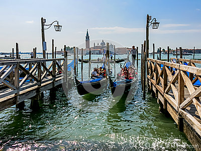 Gondolas in Venice Editorial Photography