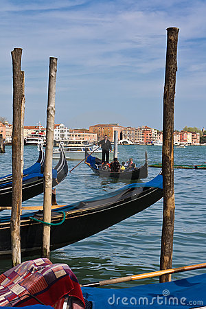 Gondoliar. Gondola with tourists Editorial Stock Image