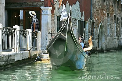 Gondolier  in Venice , Italy Editorial Image
