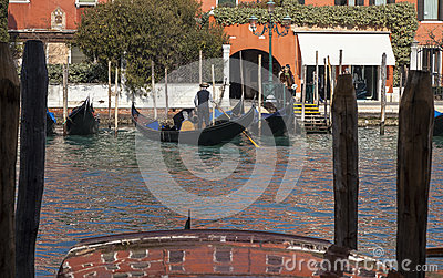 Gondoliers on the Grand Canal Editorial Stock Photo