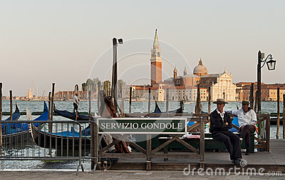 Gondoliers waiting for tourists Editorial Stock Photo