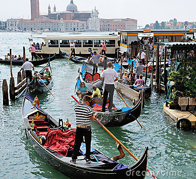 Gondoliers at Work. Gondolas Editorial Photography