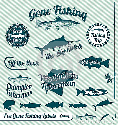 Free Gone Fishing Labels And Stickers Royalty Free Stock Images - 27083869