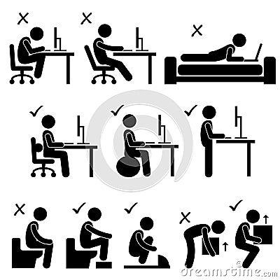Free Good And Bad Human Body Posture Stick Figure Picto Stock Photo - 37526150