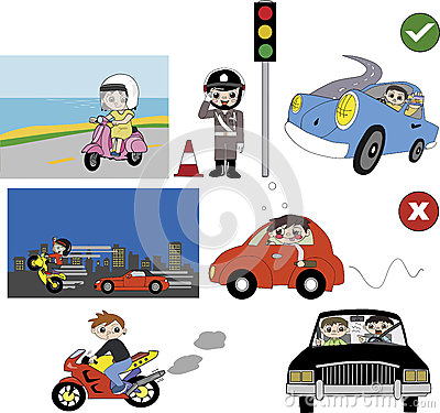 Good and bad driving habit illustration
