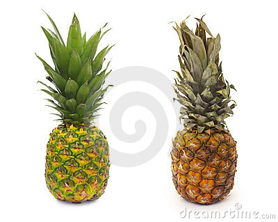 Good and bad piece of pinapple fruit