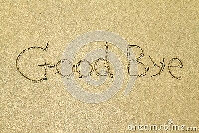 Good bye written in the sand