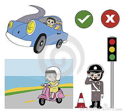 Good driver and police  illustration