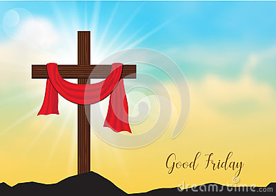 Good Friday. Background with wooden cross and sun rays in the sk Vector Illustration