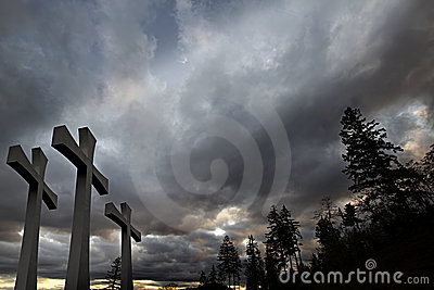 Good Friday Easter Crosses Clouds Trees Background
