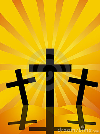 Good Friday Easter Day Crosses Sun Rays Background