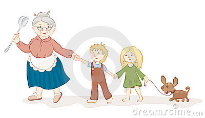 Good grandmother with children s