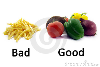 Good Healthy Food, Bad Unhealthy Food 2 Stock Images - Image: 7208574