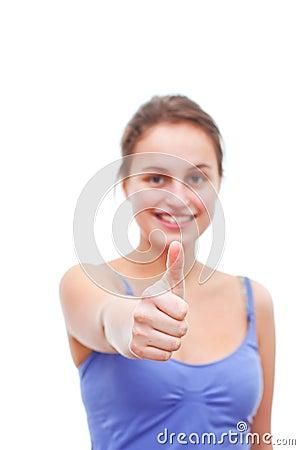 Good Job!! - Young Woman giving thumbs up