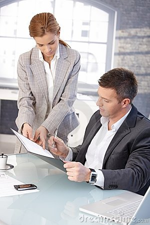 Free Good-looking Boss Signing Contract At Desk Stock Images - 18068684
