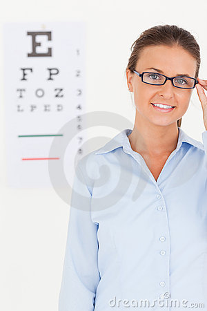 Good looking brunette eye specialist