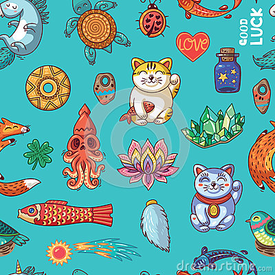 Free Good Luck Hand Drawn Seamless Pattern Royalty Free Stock Images - 66114569