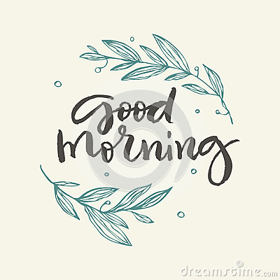 Good Morning Greeting Card With Flowers Cartoon Vector
