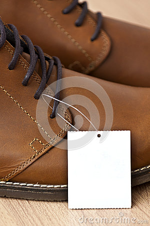 Price tag on leather shoes